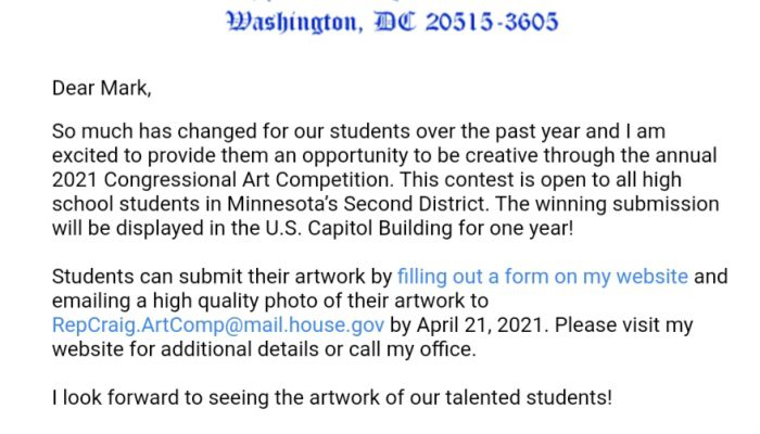 Letter from Representative Angie Craig with a Student Opportunity!